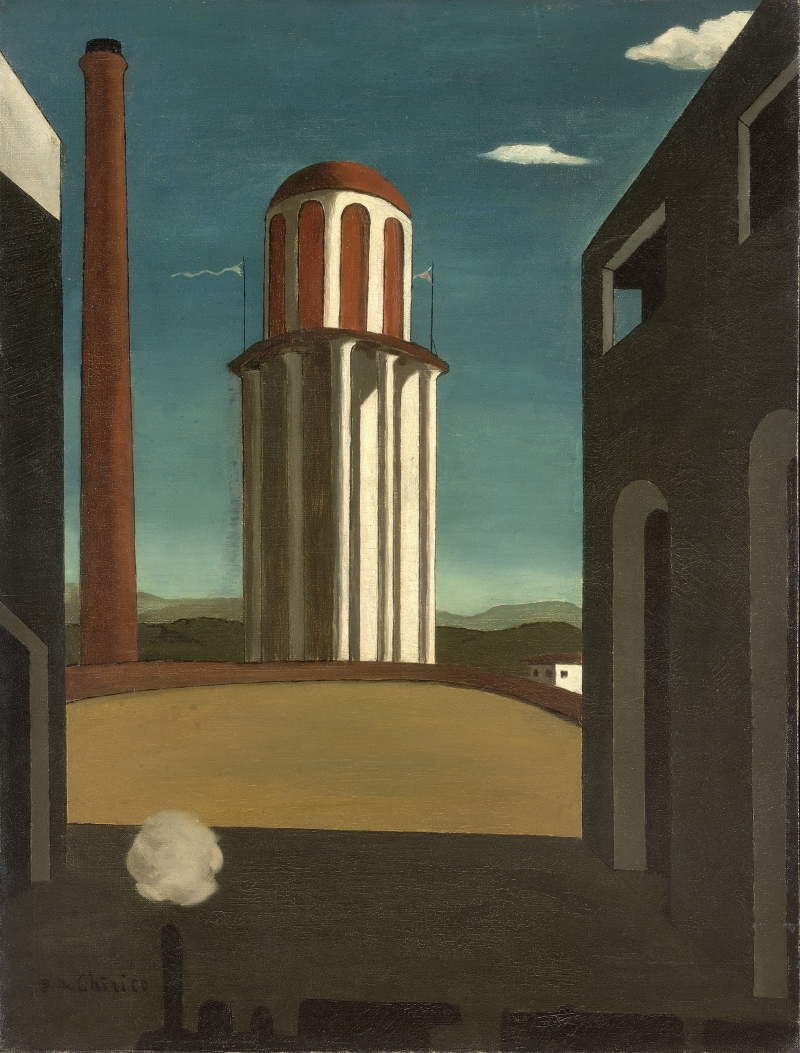 Giorgio de Chirico, Die Rückkehr des Dichters (Le Retour du poète), April 1914, Aga Khan Foundation, © VG Bild-Kunst, Bonn 2021, Foto: © Photo Courtesy, Genève, Fondation Aga Khan